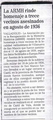 El Mundo-Diario de Valladolid, 13 de agosto de 2004